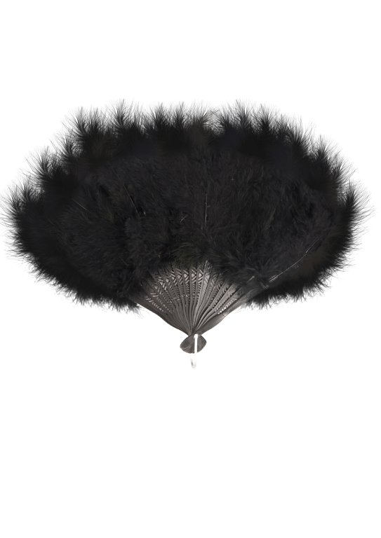 Feather Fan (Black) 45x27cm