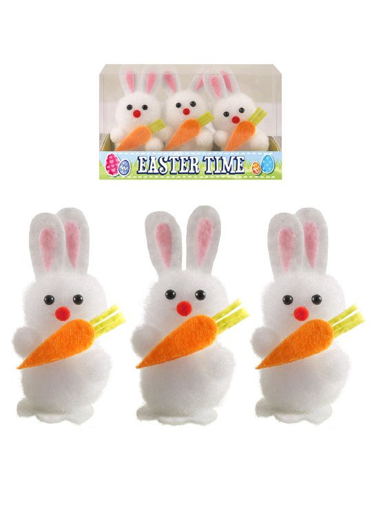 Easter Bunnies with Carrots (6cm) Easter Decorations and Party Favours