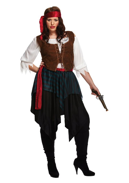Lady Caribbean Pirate (Plus Size) Adult Fancy Dress Costume