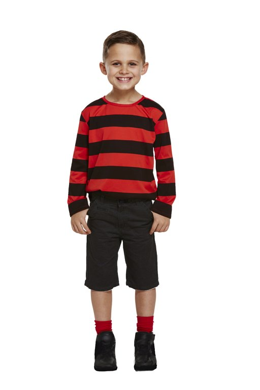 Children's Red/Black Striped Top (Small / 4-6 Years)