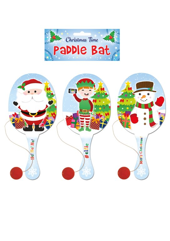Wooden Christmas Paddle Bat and Ball Games (22cm) 3 Assorted Designs