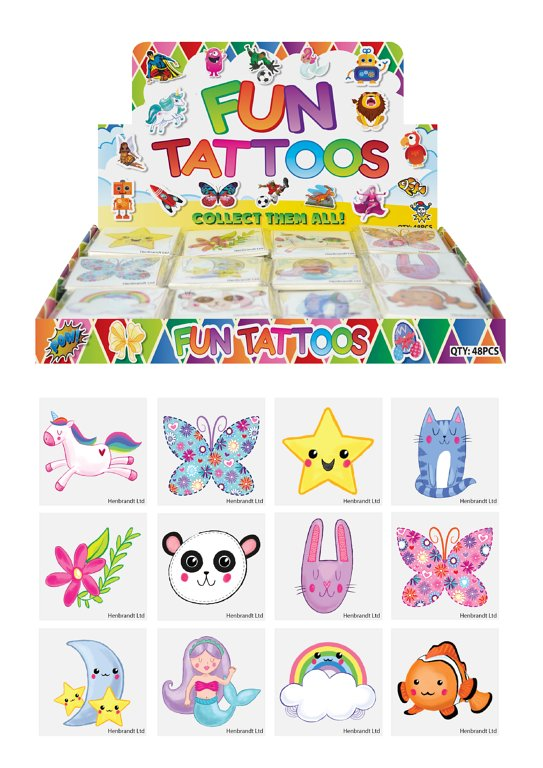 Mini Cute Temporary Tattoos (4cm) 12 Piece Packs