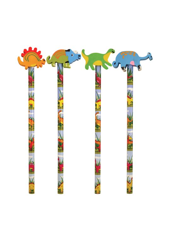 Dinosaur Pencils with Eraser Toppers (4 Assorted)