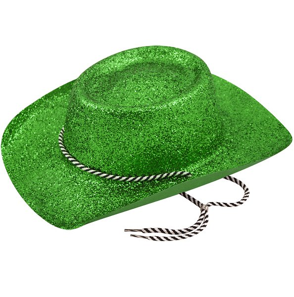 Green Glitter Cowboy Hat with Cord (Adult)