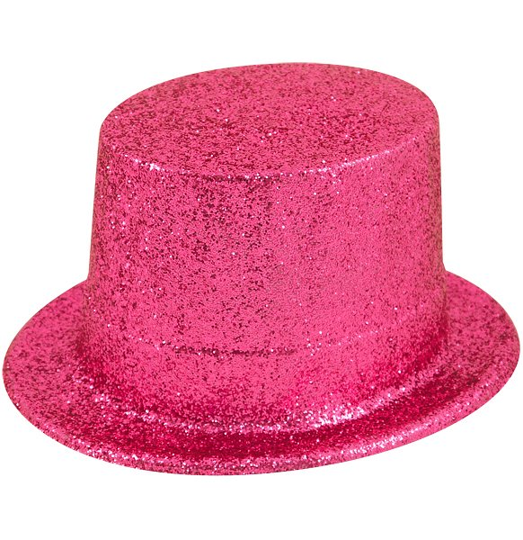 Pink Glitter Top Hat (Adult)