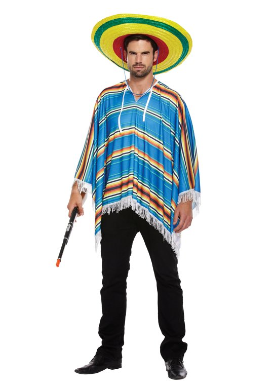 Blue Poncho (One Size) Adult Fancy Dress Costume