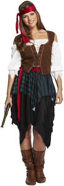 Lady Caribbean Pirate (One Size) Adult Fancy Dress Costume
