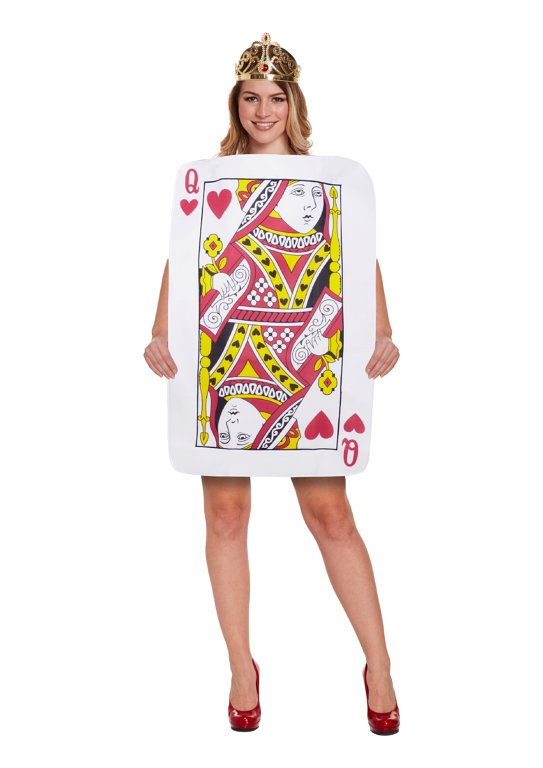 Queen of Hearts Playing Card (One Size) Adult Fancy Dress Costume
