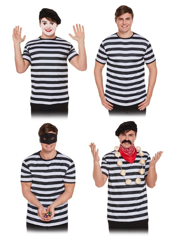 Striped Black/White Top (One Size) Adult Fancy Dress
