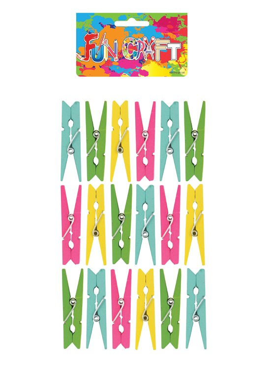 Mini Colourful Wooden Pegs Craft Kit (4.8cm)