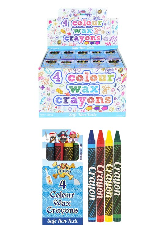 Pirate Wax Crayon Packs (9cm) 4pcs