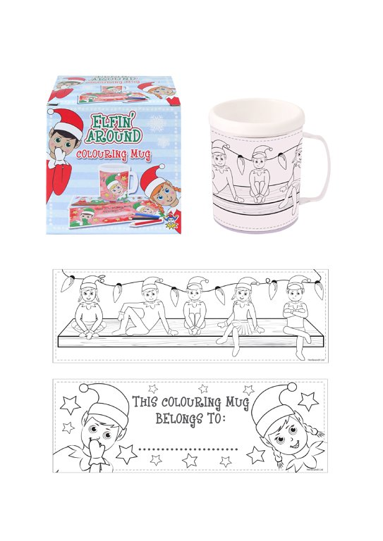 Elfin Around Colouring Mug with 2 Assorted Designs