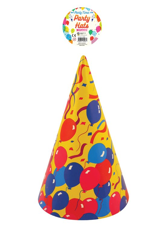 Children's Party Cone Hat with Balloon Print Design