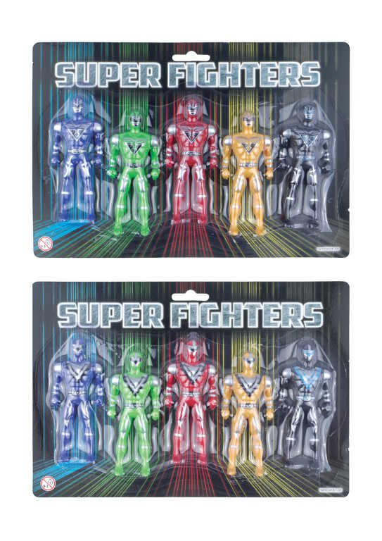 Super Fighter Figures (10cm) 2 Designs / 5 Assorted Colours