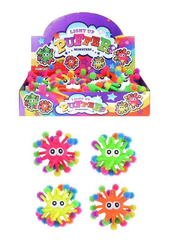 Light Up Multicoloured Monster Puffers (12cm) 4 Assorted Colours