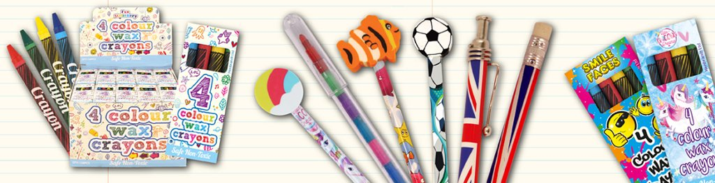 Stationery Pens Pencils Crayons Banner