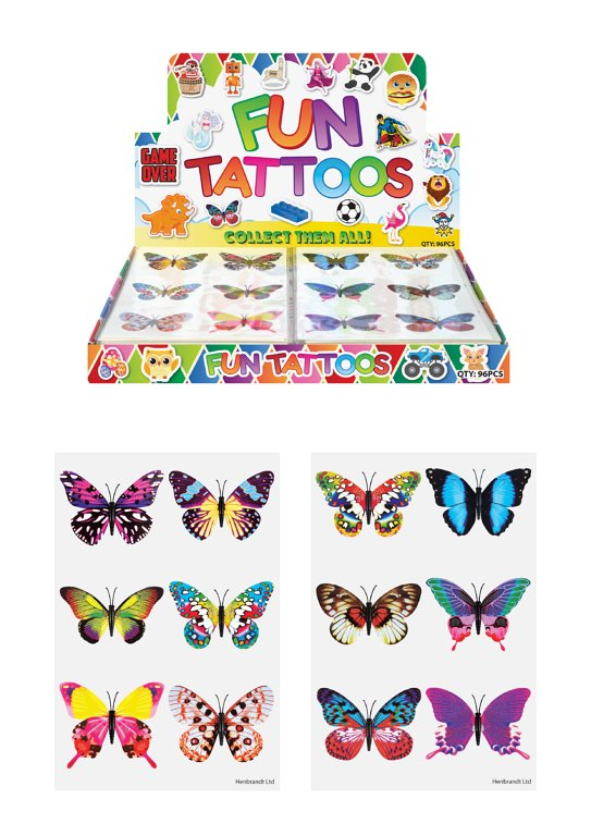 Mini Butterfly Temporary Tattoo Sheets (4cm) Assorted Designs