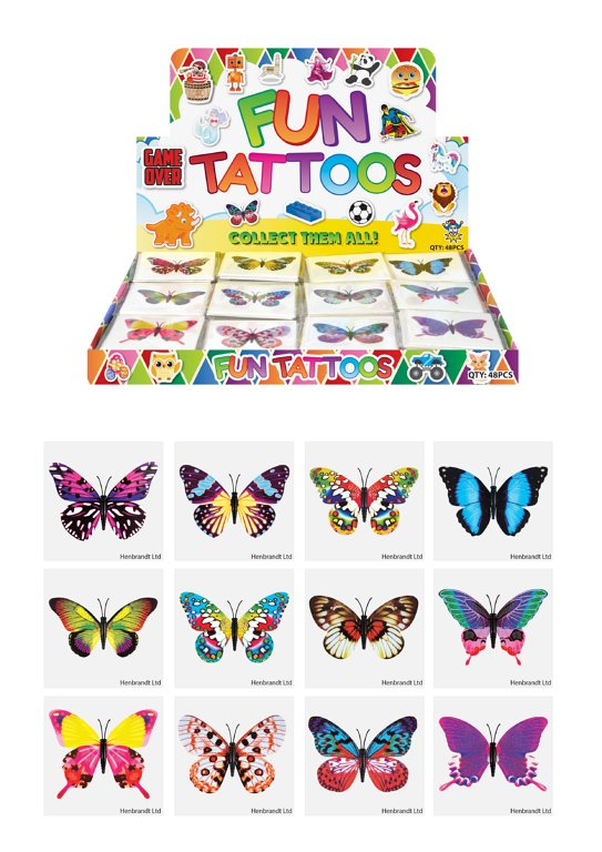 Mini Butterfly Temporary Tattoos (4cm) 12 Piece Packs