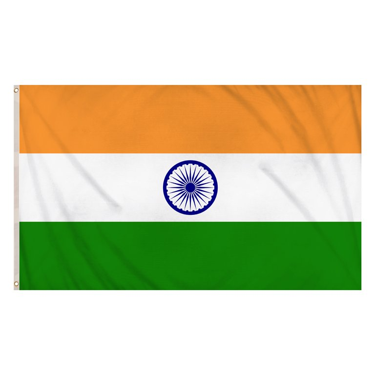 India Flag (5ft x 3ft) Polyester, double stitched seam, metal eyelets
