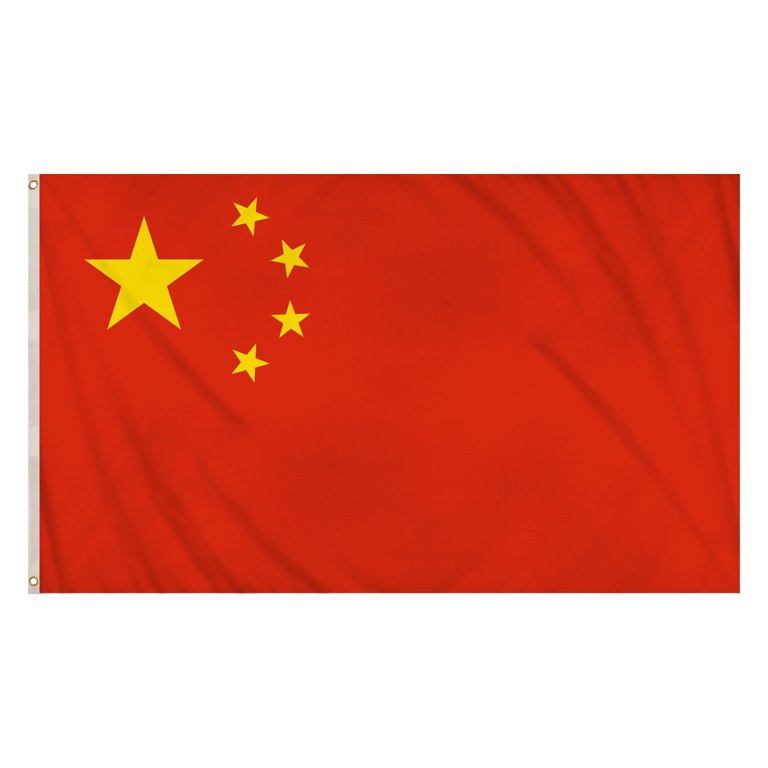 China Flag (5ft x 3ft) Polyester, double stitched seam, metal eyelets
