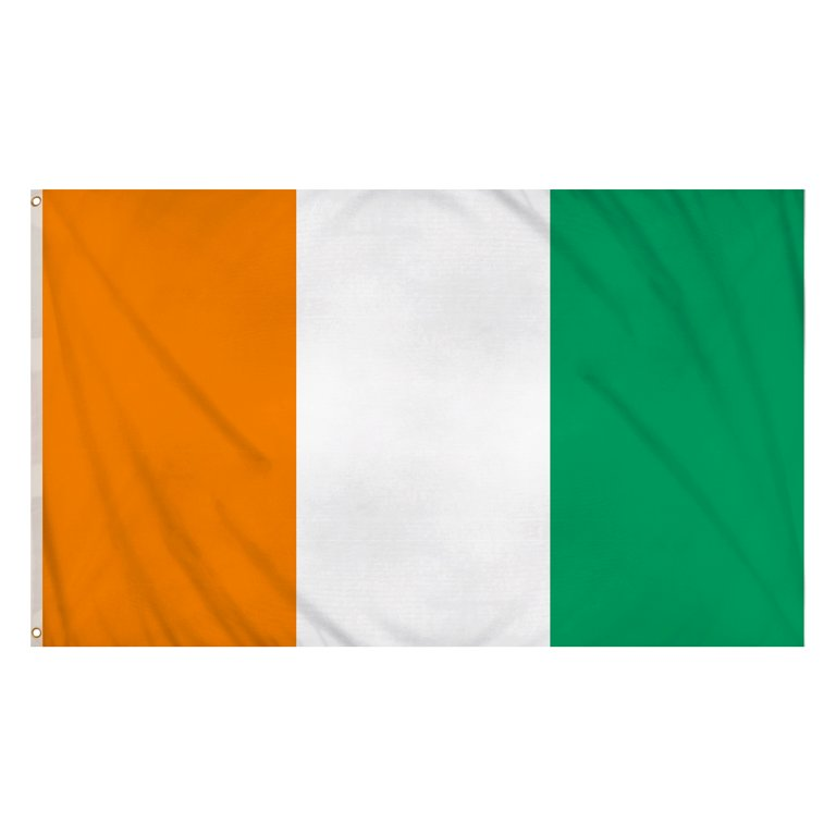 Ivory Coast Flag (5ft x 3ft) Polyester, double stitched seam, metal eyelets