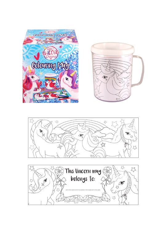 Unicorn Colouring Mug with 2 Assorted Designs