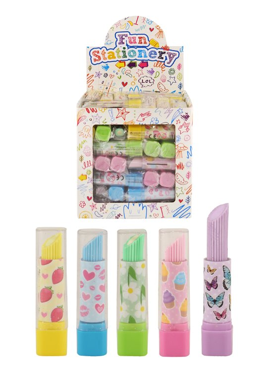 Lipstick Erasers (7cm) 5 Assorted Colours and Designs