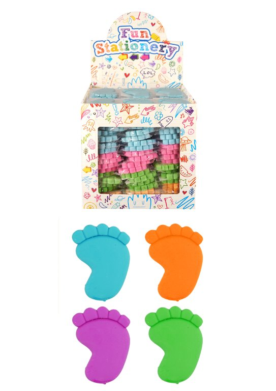 Foot Erasers (5cm) 4 Assorted Colours