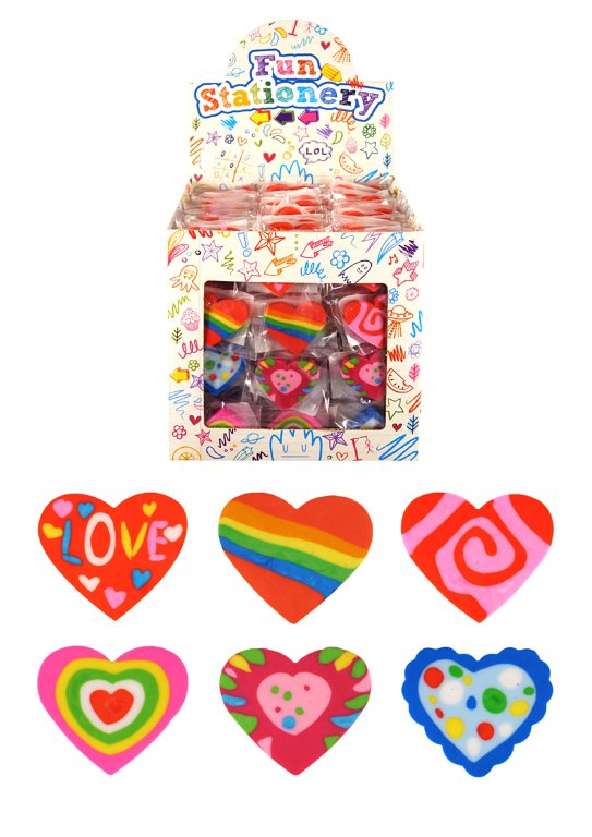 Heart Erasers (3.4cm) 6 Assorted Designs