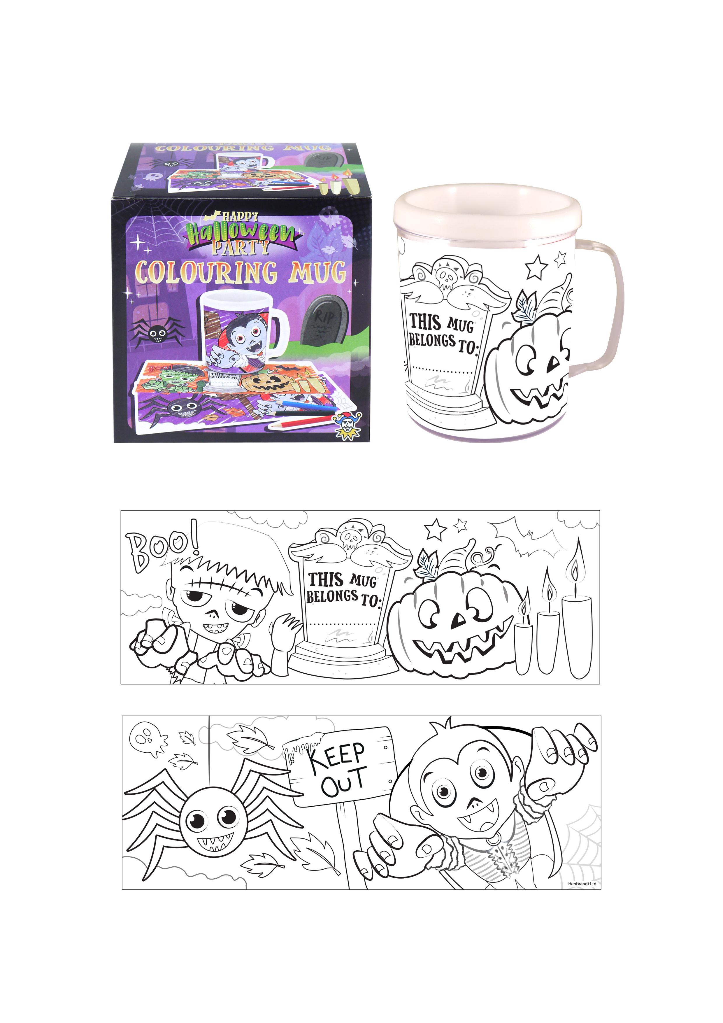 Halloween Colouring Mug With 2 Assorted Designs Henbrandt Ltd